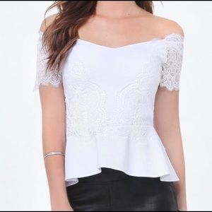 bebe White Lace Peplum Off The Shoulder Top